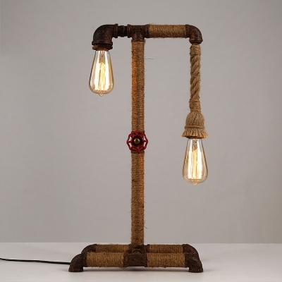 Weathered iron 2 light burlap industrial led table lamp with red weathered iron 2 light burlap industrial led table lamp with red valve accents aloadofball Images