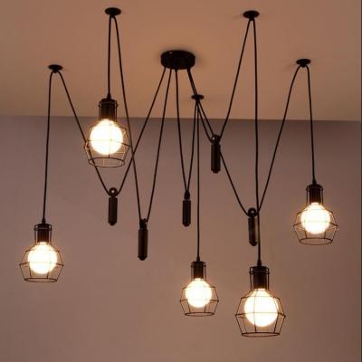 Retro black 5 light led hanging pendant light with cage shade retro black 5 light led hanging pendant light with cage shade aloadofball Images