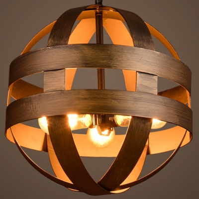 Brushed Bronze 3 Light LED Pendant in Globe Shape