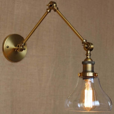 Burnished Brass 1 Light Clear Glass Adjustable LED Wall Light