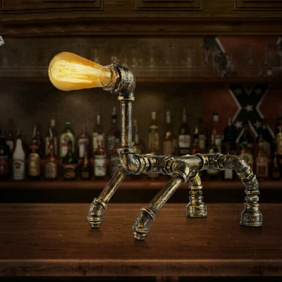 Industrial Dog Shape 12'' Height  Accent LED Table Lamp in Antique Brass Finish