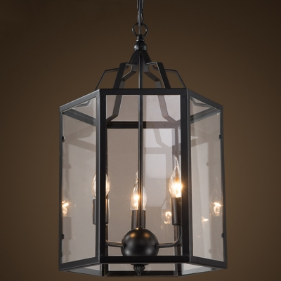 Lantern Style 3 Light Chandelier In Black Finish