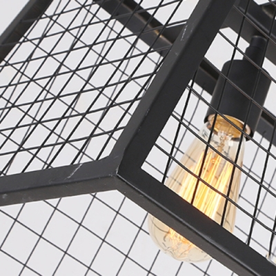 31 1/2'' W Industrial 4 Light Large LED Pendent with Lattice Shade