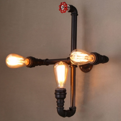 Black Finished Pipe 3 Light Wall Sconce - Beautifulhalo.com