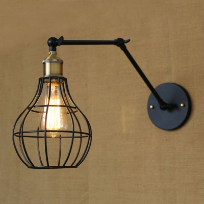 Pearl Shape Cage 1 Light Adjustable LED Wall Sconce in Black Finish