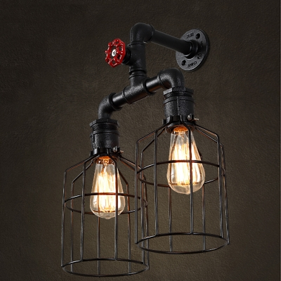 Vintage black iron cage 2 lights led wall sconce with red valve aloadofball Image collections