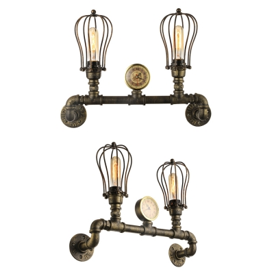 Antique Brass 2 Light LED Pipe Wall Sconce in Cage Style