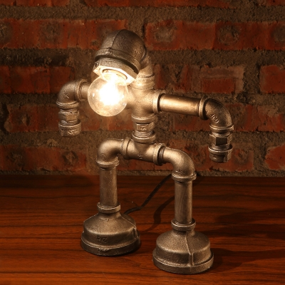 Antique Brass Single Light Decorative Pipe LED Table Lamp Night Light