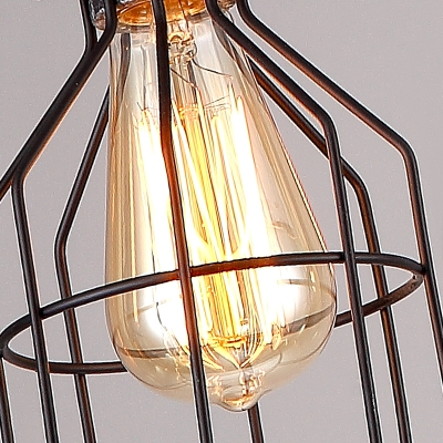 Brushed Iron 4 Lights Cage LED Chandelier-22'' Wide