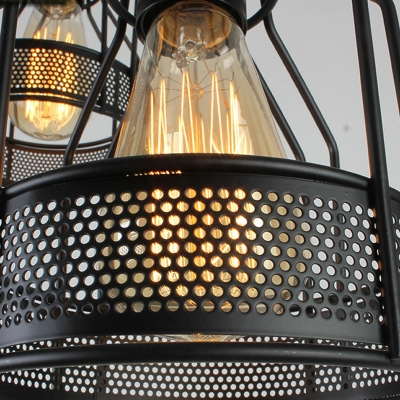 Dining Room 3 Light Led Multi Pendant With Black Metal Wire Mesh