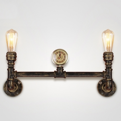 Weathered brass 2 lights indoor led wall lamp with steampunk aceents mozeypictures Choice Image