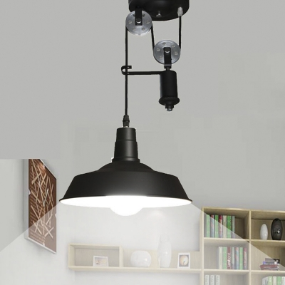 1 Light Pulley LED Pendant Metal Shade in Black
