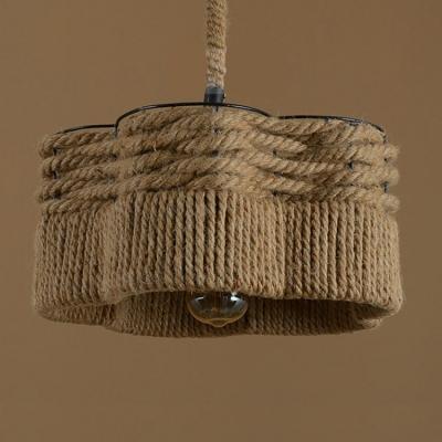 14 W Industrial Vintage Burlap 1 Bulb Hanging Pendant