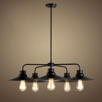 5 Light 1 Tier Black LED Chandelier in Vintage Style