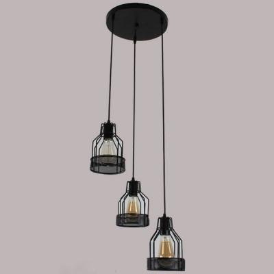 Industrial Dining Room 3 Light Multi Light Pendant with Black ...