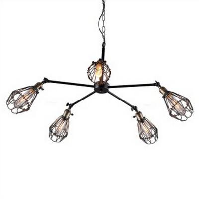 Matte Black Urban Renewal 5 Light 1 Tier LED Chandelier