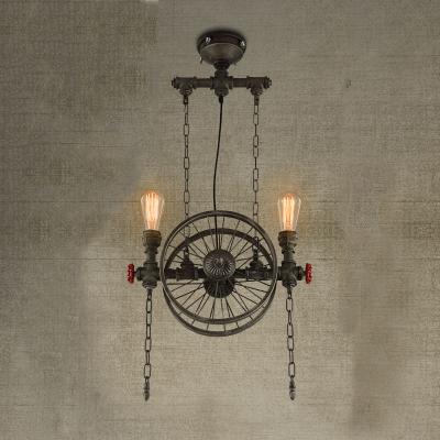 Matte bronze 2 light wheel industrial led hanging pendant lighting matte bronze 2 light wheel industrial led hanging pendant lighting mozeypictures Gallery