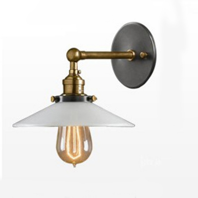 Wall Sconce Metal Shade : White Mini 1 Light Wall Sconce with Metal Shade - Beautifulhalo.com