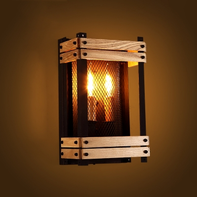 Metal Wall Sconce 14'' tall wood cube 2 light wall sconce with metal shade