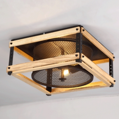 15 inches wide industrial led flush mount ceiling light with wood
