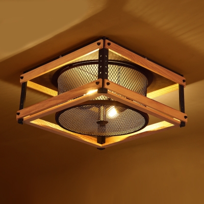 15 inches wide industrial led flush mount ceiling light with wood 15 inches wide industrial led flush mount ceiling light with wood accents mozeypictures Gallery