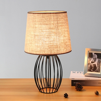 Black Metal LED Table Lamp with Fabric Shade