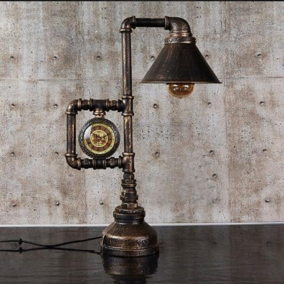 Brushed Bronze Single Light Cone Clock LED Desk Lamp
