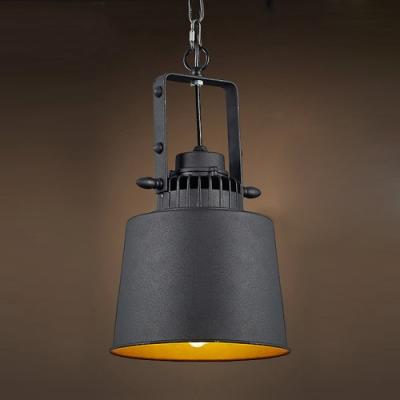 Retro 1-Light Metal Cone LED Pendant Light in Black