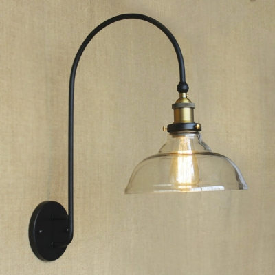 1 Light LED Wall Sconce With Clear Glass Shade ...