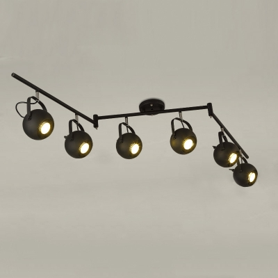 Indoor Matte Black 6 Lights Spotlight Swing Arm Led Close To Ceiling Light
