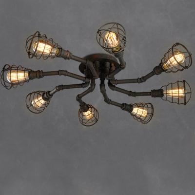 Rust Iron 8 Light Round Pipe LED Semi Flush Light