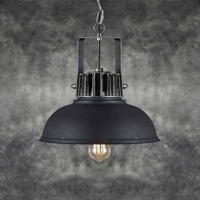 13'' W Black Iron LED Pendant with Dome Shade