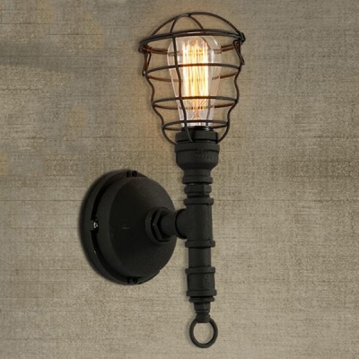 Black Iron 1 Light Pipe Industrial LED Wall Sconce with Wire Guard ...