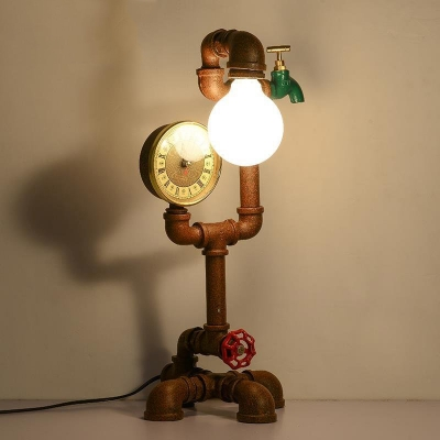 Mottled Rust Iron 1 Light Pipe LED Table Lamp with Green Faucet Accents