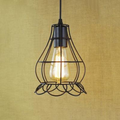 Satin Black Floral Cage 1 Light LED Mini Pendant