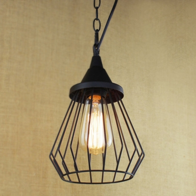 Bird Cage Single Mini Pendant Light In Black Industrial