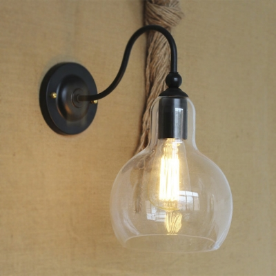 Industrial Single Light LED Wall Sconce in Clear Glass Ball Shade