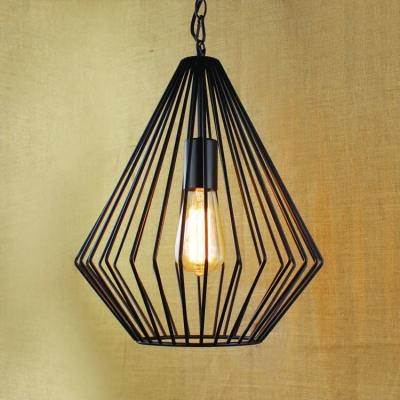 12'' Width Satin Black Diamond Single Light LED Pendant