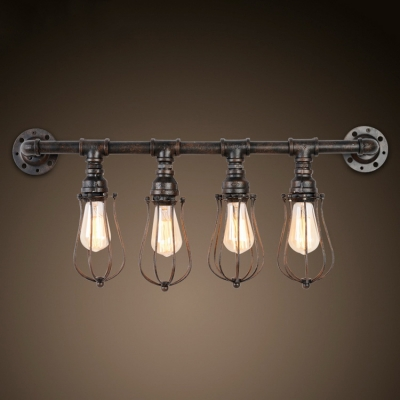 4 Light Pipe LED Wall Sconce with Cage - Beautifulhalo.com