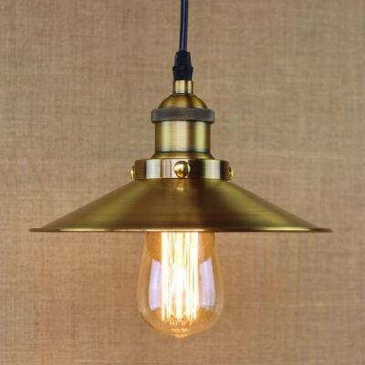 Fashion style pendant lights brass industrial lighting brushed brass 1 light down lighting cone metal led hanging pendant aloadofball Gallery
