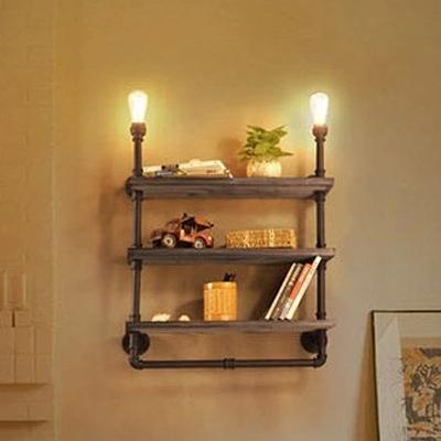 Practical 2 Light Three Layer Bookshelf Pipe LED Wall Lamp