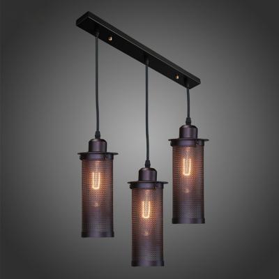 Black Finished 3 Light LED Multi-Light Pendant with Metal Mesh