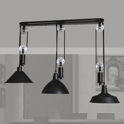 Black 3 Light Pulley Large Pendant Light