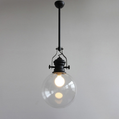 Vintage matte black led pendant lamp with globe glass shade aloadofball Choice Image