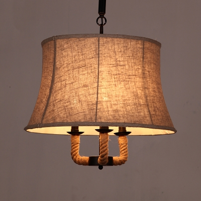Fashion style fabric pendant lights industrial lighting burlap 3 lights cone pendant lighting aloadofball Choice Image