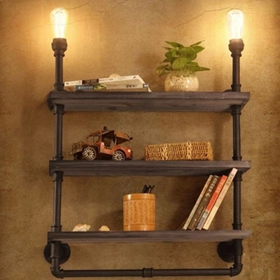 Practical 2 Light Three Layer Bookshelf Pipe LED Wall Lamp ...