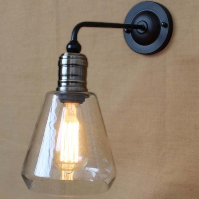 6u0027u0027 H Matte Black Indoor LED Wall Sconce With Clear Glass Shade
