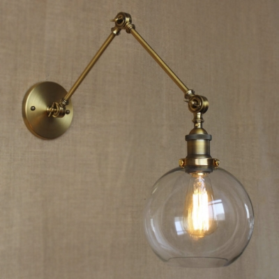 Adjustable Indoor LED Wall Lamp with Clear Glass Shade in Brass Finish, HL409813