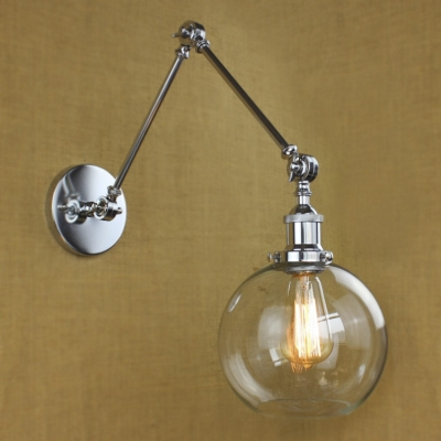 Adjustable LED Wall Light in Chrome with Round Clear Glass Shade ...