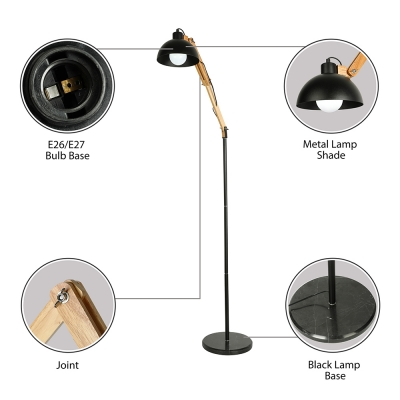 Spun Wood Living Room Adjustable LED Floor Lamp with Dome Metal Shade
